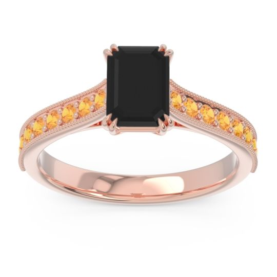Pave Milgrain Emerald Cut Druna Black Onyx Ring with Citrine in 14K Rose Gold