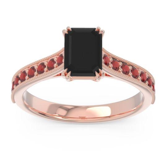 Pave Milgrain Emerald Cut Druna Black Onyx Ring with Garnet in 14K Rose Gold