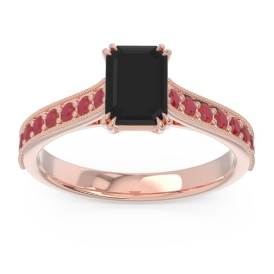 Pave Milgrain Emerald Cut Druna Black Onyx Ring with Ruby in 18K Rose Gold