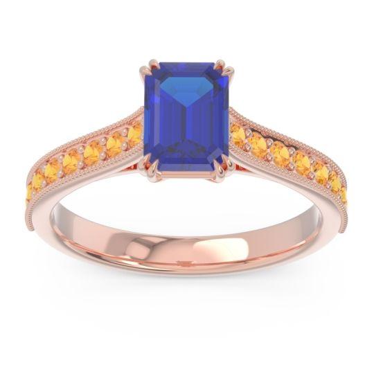 Pave Milgrain Emerald Cut Druna Blue Sapphire Ring with Citrine in 14K Rose Gold