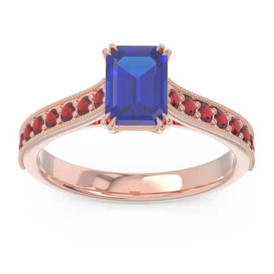 Pave Milgrain Emerald Cut Druna Blue Sapphire Ring with Garnet in 14K Rose Gold