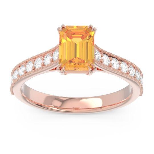 Pave Milgrain Emerald Cut Druna Citrine Ring with Diamond in 14K Rose Gold