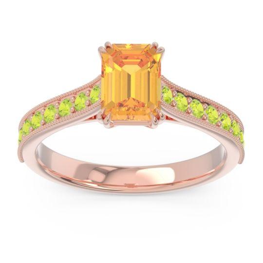 Pave Milgrain Emerald Cut Druna Citrine Ring with Peridot in 18K Rose Gold