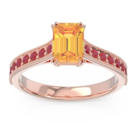 Pave Milgrain Emerald Cut Druna Citrine Ring with Ruby in 14K Rose Gold
