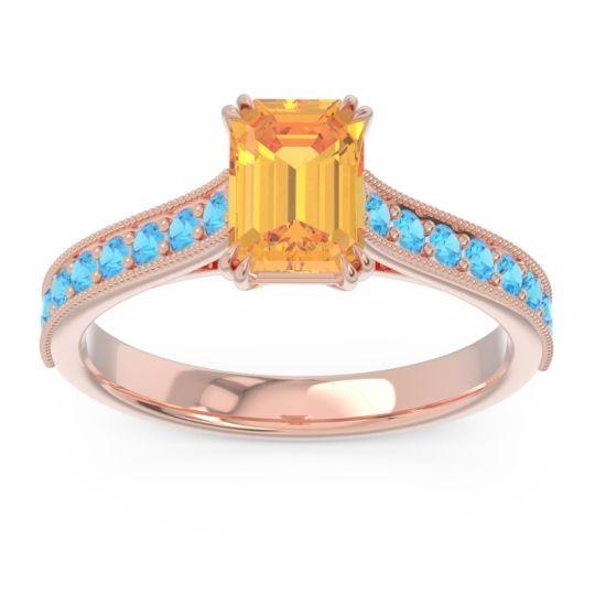 Pave Milgrain Emerald Cut Druna Citrine Ring with Swiss Blue Topaz in 14K Rose Gold