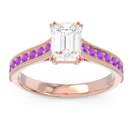 Pave Milgrain Emerald Cut Druna Diamond Ring with Amethyst in 14K Rose Gold