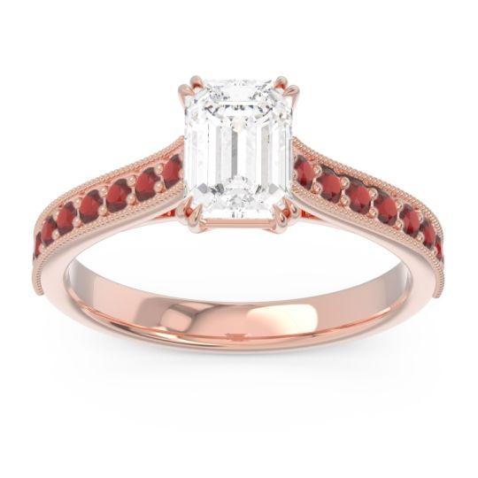 Pave Milgrain Emerald Cut Druna Diamond Ring with Garnet in 14K Rose Gold