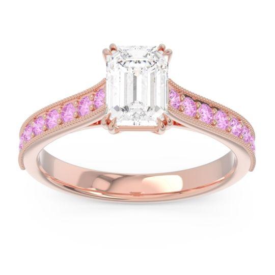 Pave Milgrain Emerald Cut Druna Diamond Ring with Pink Tourmaline in 14K Rose Gold