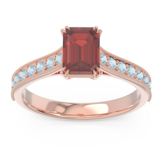 Pave Milgrain Emerald Cut Druna Garnet Ring with Aquamarine in 18K Rose Gold