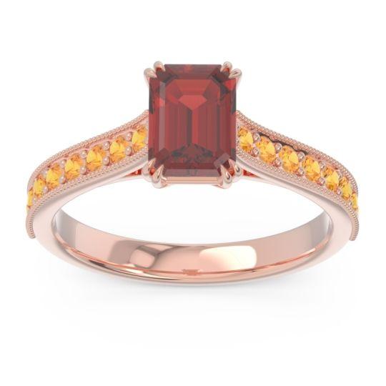 Pave Milgrain Emerald Cut Druna Garnet Ring with Citrine in 18K Rose Gold