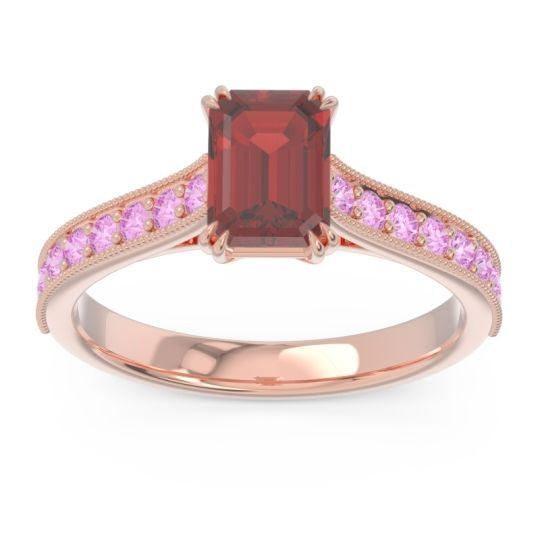 Pave Milgrain Emerald Cut Druna Garnet Ring with Pink Tourmaline in 14K Rose Gold