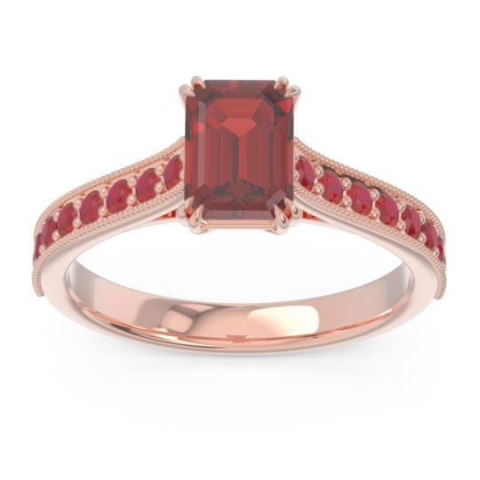 Pave Milgrain Emerald Cut Druna Garnet Ring with Ruby in 18K Rose Gold