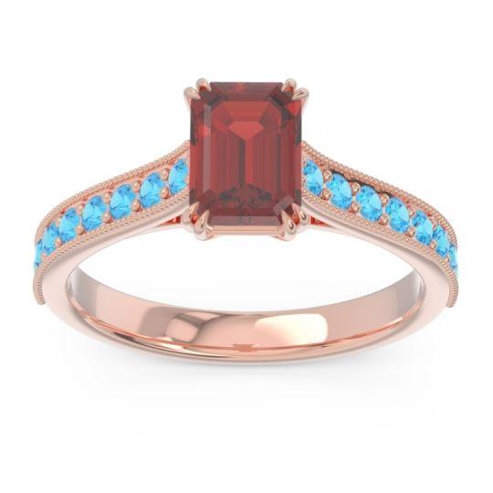 Pave Milgrain Emerald Cut Druna Garnet Ring with Swiss Blue Topaz in 18K Rose Gold
