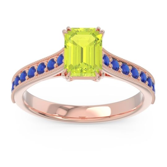 Pave Milgrain Emerald Cut Druna Peridot Ring with Blue Sapphire in 18K Rose Gold