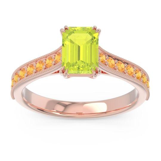 Pave Milgrain Emerald Cut Druna Peridot Ring with Citrine in 18K Rose Gold
