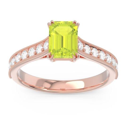 Pave Milgrain Emerald Cut Druna Peridot Ring with Diamond in 18K Rose Gold