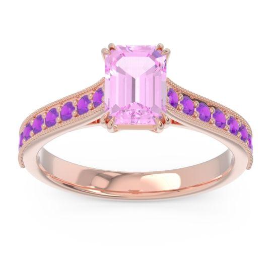 Pave Milgrain Emerald Cut Druna Pink Tourmaline Ring with Amethyst in 18K Rose Gold