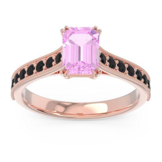Pave Milgrain Emerald Cut Druna Pink Tourmaline Ring with Black Onyx in 14K Rose Gold