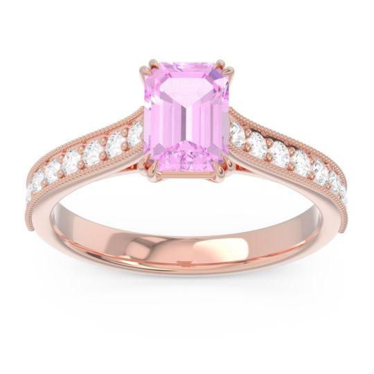 Pave Milgrain Emerald Cut Druna Pink Tourmaline Ring with Diamond in 18K Rose Gold