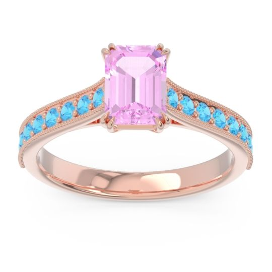 Pave Milgrain Emerald Cut Druna Pink Tourmaline Ring with Swiss Blue Topaz in 14K Rose Gold