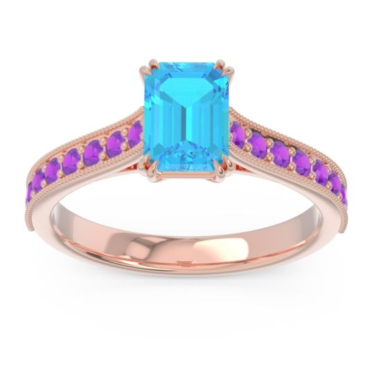 Pave Milgrain Emerald Cut Druna Swiss Blue Topaz Ring with Amethyst in 14K Rose Gold