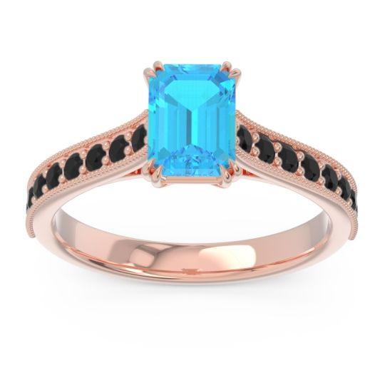 Pave Milgrain Emerald Cut Druna Swiss Blue Topaz Ring with Black Onyx in 18K Rose Gold