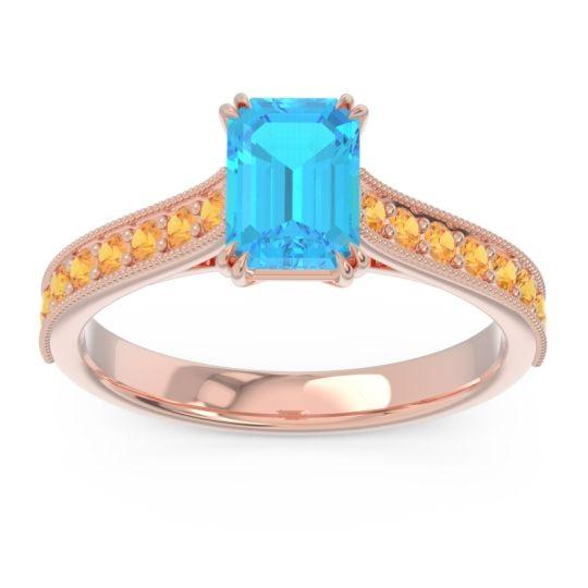Pave Milgrain Emerald Cut Druna Swiss Blue Topaz Ring with Citrine in 14K Rose Gold