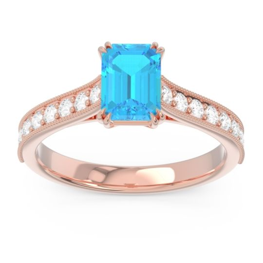 Pave Milgrain Emerald Cut Druna Swiss Blue Topaz Ring with Diamond in 14K Rose Gold