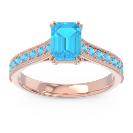 Pave Milgrain Emerald Cut Druna Swiss Blue Topaz Ring in 18K Rose Gold