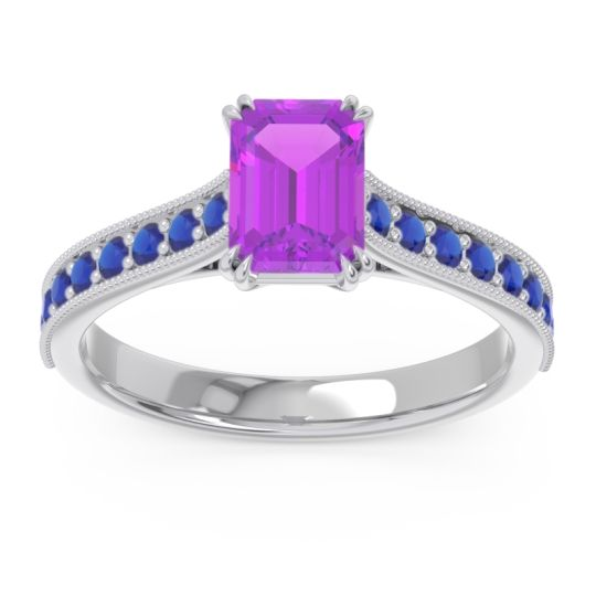 Pave Milgrain Emerald Cut Druna Amethyst Ring with Blue Sapphire in 14k White Gold