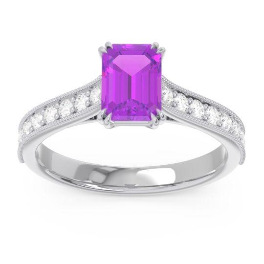 Pave Milgrain Emerald Cut Druna Amethyst Ring with Diamond in 14k White Gold
