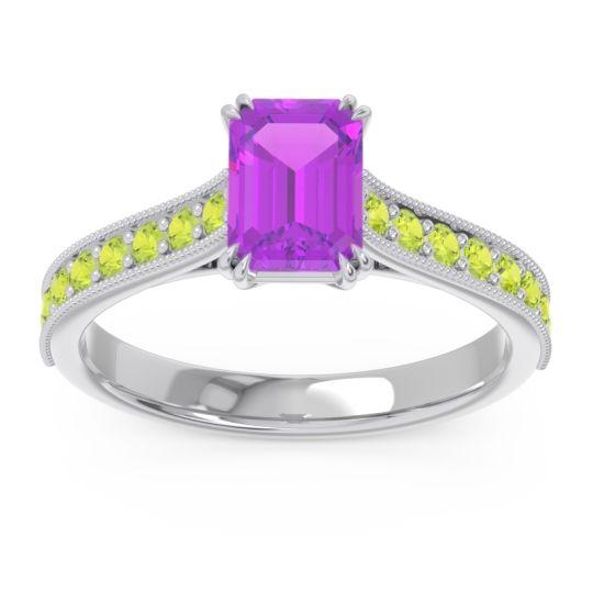 Pave Milgrain Emerald Cut Druna Amethyst Ring with Peridot in Palladium