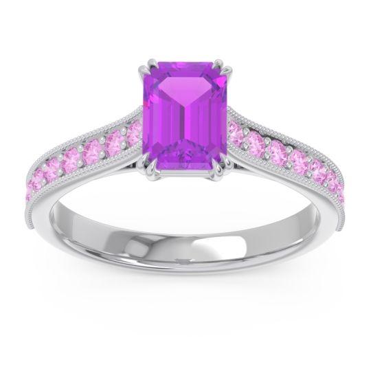Pave Milgrain Emerald Cut Druna Amethyst Ring with Pink Tourmaline in 14k White Gold