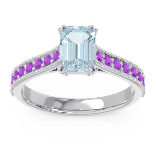 Pave Milgrain Emerald Cut Druna Aquamarine Ring with Amethyst in Platinum