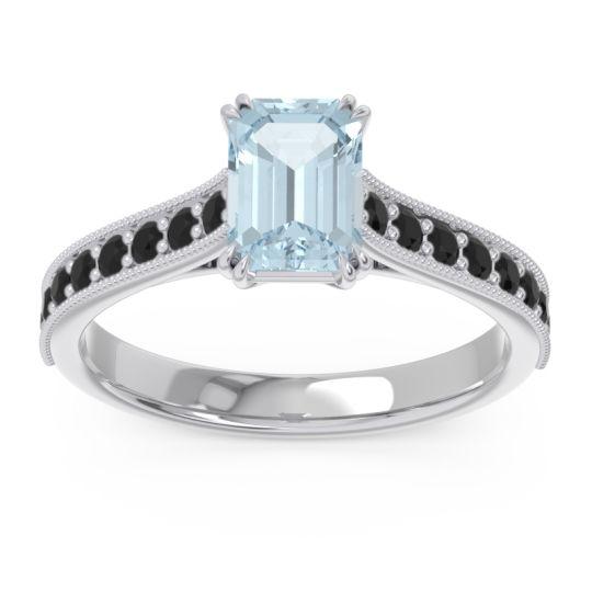 Pave Milgrain Emerald Cut Druna Aquamarine Ring with Black Onyx in 18k White Gold