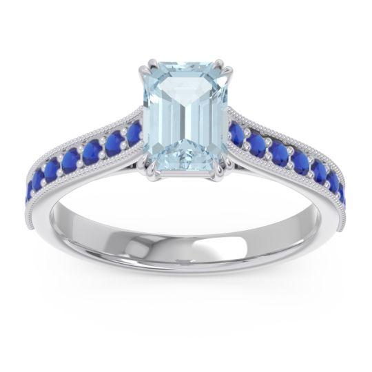 Pave Milgrain Emerald Cut Druna Aquamarine Ring with Blue Sapphire in Palladium