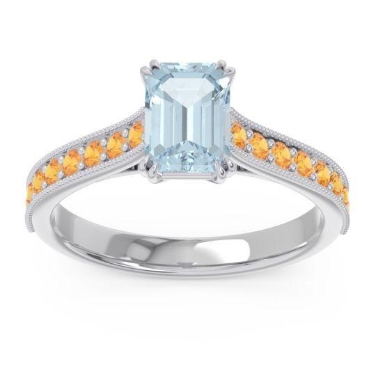 Pave Milgrain Emerald Cut Druna Aquamarine Ring with Citrine in 18k White Gold
