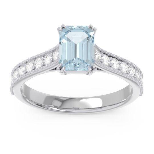 Pave Milgrain Emerald Cut Druna Aquamarine Ring with Diamond in Palladium