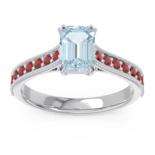 Pave Milgrain Emerald Cut Druna Aquamarine Ring with Garnet in 14k White Gold
