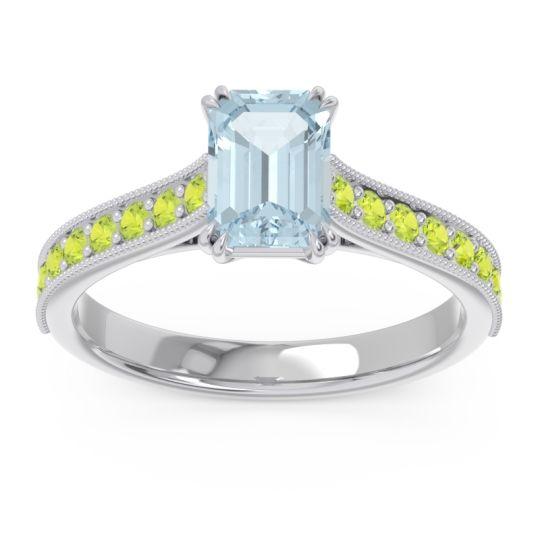 Pave Milgrain Emerald Cut Druna Aquamarine Ring with Peridot in Platinum