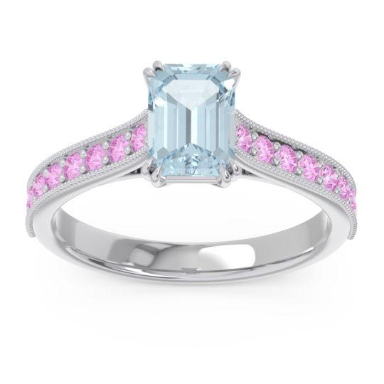 Pave Milgrain Emerald Cut Druna Aquamarine Ring with Pink Tourmaline in 14k White Gold