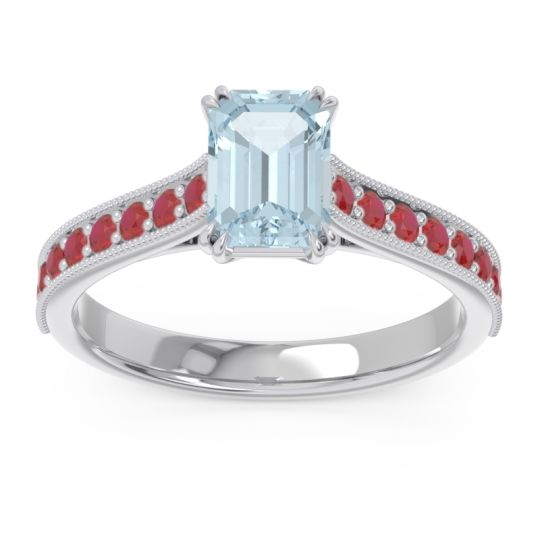 Pave Milgrain Emerald Cut Druna Aquamarine Ring with Ruby in 18k White Gold