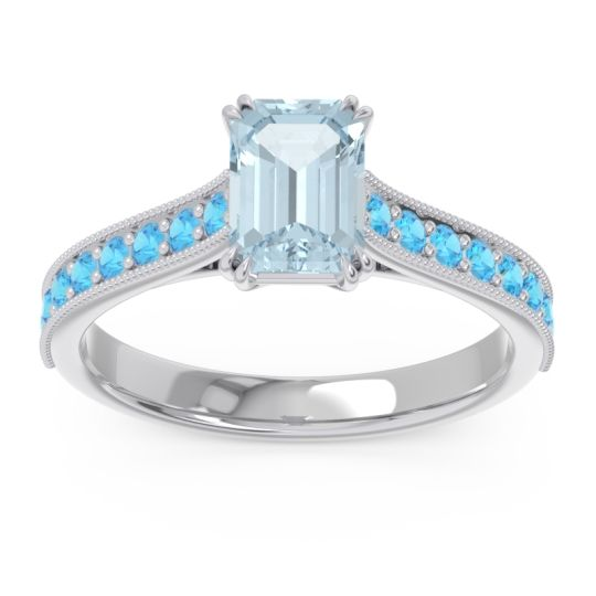 Pave Milgrain Emerald Cut Druna Aquamarine Ring with Swiss Blue Topaz in 18k White Gold