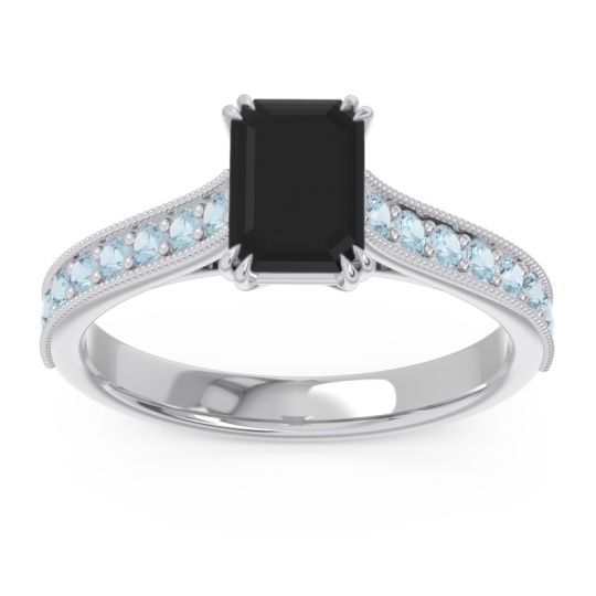 Pave Milgrain Emerald Cut Druna Black Onyx Ring with Aquamarine in Platinum