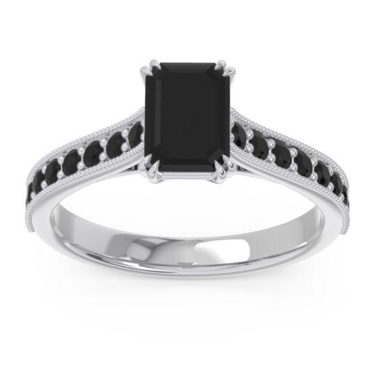 Pave Milgrain Emerald Cut Druna Black Onyx Ring in 14k White Gold