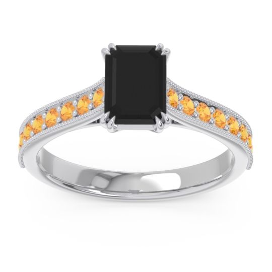 Pave Milgrain Emerald Cut Druna Black Onyx Ring with Citrine in Palladium