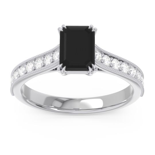 Pave Milgrain Emerald Cut Druna Black Onyx Ring with Diamond in Platinum