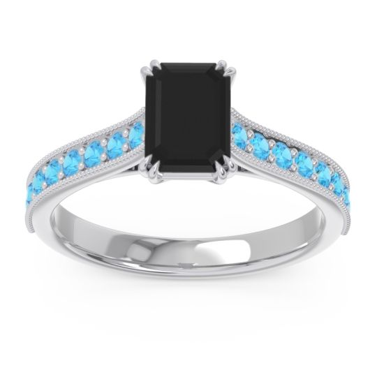 Pave Milgrain Emerald Cut Druna Black Onyx Ring with Swiss Blue Topaz in 18k White Gold