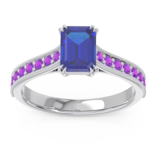 Pave Milgrain Emerald Cut Druna Blue Sapphire Ring with Amethyst in 18k White Gold