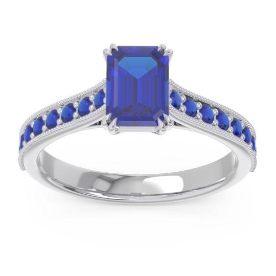 Pave Milgrain Emerald Cut Druna Blue Sapphire Ring in 14k White Gold